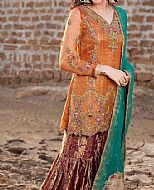Rust Organza Suit- Pakistani Party Wear Dress