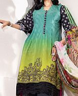 Sea Green/Black Cambric Suit- Pakistani Winter Dress
