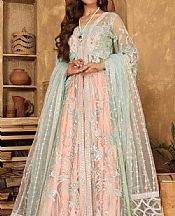 Mint Green/Peach Net Suit- Pakistani Designer Chiffon Suit