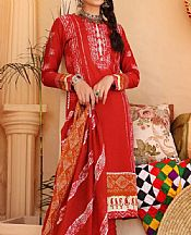 Red Lawn Suit (2 Pcs)- Pakistani Lawn Dress
