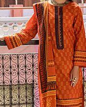Rust Lawn Suit (2 Pcs)- Pakistani Lawn Dress