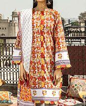 Rust/Yellow Lawn Suit- Pakistani Designer Lawn Dress