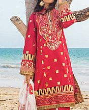 Red Dobby Lawn Suit- Pakistani Designer Lawn Dress