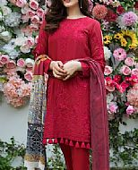 Red Swiss Lawn Suit