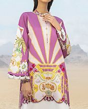 Mauve/Off-white Cotton Satin Kurti- Pakistani Designer Lawn Dress