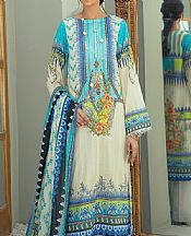 Off-white/Turquoise Lawn Suit- Pakistani Designer Lawn Dress