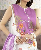 White/Mauve Lawn Suit- Pakistani Designer Lawn Dress