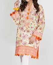 Light Green/Safety Orange Lawn Kurti- Pakistani Designer Lawn Dress
