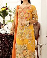 Gold Yellow Chiffon Suit- Pakistani Designer Chiffon Suit