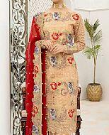 Ivory/Maroon Chiffon Suit- Pakistani Designer Chiffon Suit