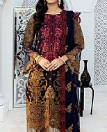 Navy/Plum Chiffon Suit- Pakistani Chiffon Dress