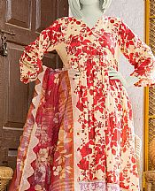 Red/Peach Lawn Suit- Pakistani Lawn Dress