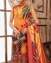 Safety Orange Lawn Suit- Pakistani Lawn Dress