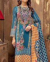 Denim Blue Lawn Suit- Pakistani Designer Lawn Dress