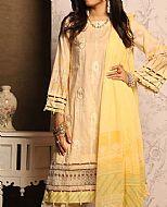 Ivory/Yellow Lawn Suit- Pakistani Designer Lawn Dress