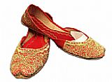 Ladies Khussa- Red/Golden- Khussa Shoes for Women