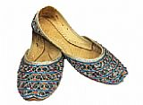 Ladies Khussa- Silver/Blue- Pakistani Khussa Shoes