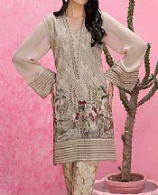 Beige Chiffon Kurti- Pakistani Designer Chiffon Suit
