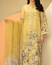 Yellow Lawn Suit (2 Pcs)- Pakistani Designer Lawn Dress