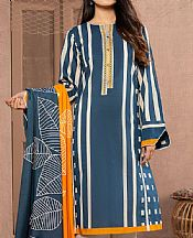 Denim Blue Lawn Suit (2 Pcs)- Pakistani Designer Lawn Dress