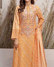 Buff Orange Lawn Suit (2 Pcs)- Pakistani Designer Lawn Dress