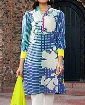 Mint Green/Navy Lawn Suit (2 Pcs)- Pakistani Lawn Dress
