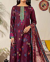 Claret Red Lawn Suit (2 Pcs)- Pakistani Designer Lawn Dress