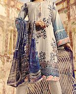 Ivory/Blue Lawn Suit- Pakistani Designer Lawn Dress