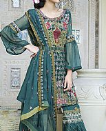 Teal Green Crinkle Chiffon Suit- Pakistani Chiffon Dress