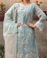 Light Turquoise Pure Crinkle Chiffon Suit