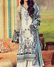 Ash White Lawn Suit- Pakistani Designer Lawn Dress