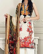 Off-White Lawn Suit- Pakistani Designer Lawn Dress