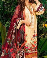 Fawn/Maroon Lawn Suit- Pakistani Designer Lawn Dress