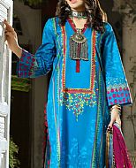 Turquoise Cambric Suit- Pakistani Winter Dress
