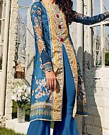 Teal Blue Lawn Suit (2 Pcs)- Pakistani Designer Lawn Dress