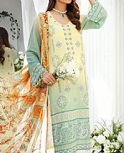 Cream/Mint Green Lawn Suit- Pakistani Lawn Dress