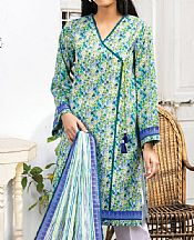 Teal/Parrot Green Lawn Suit (2 Pcs)- Pakistani Lawn Dress