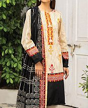 Black/Cream Lawn Suit (2 Pcs)- Pakistani Lawn Dress
