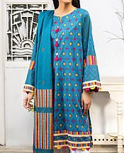 Electric Blue Lawn Suit (2 Pcs)- Pakistani Designer Lawn Dress