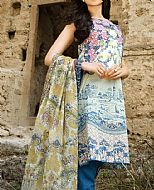 Off-White/Blue Cotton Lawn Suit- Pakistani Lawn Dress