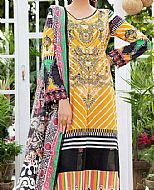 Mustard/Black Lawn Suit- Pakistani Lawn Dress