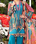 Dark Turquoise Lawn Suit- Pakistani Lawn Dress
