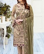 Beige/Green Chiffon Suit- Pakistani Chiffon Dress