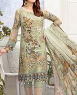 Pistachio Green Chiffon Suit- Pakistani Chiffon Dress