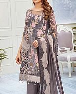 Grey/Pink Chiffon Suit- Pakistani Chiffon Dress