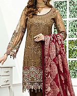 Dark Brown/Maroon Organza Suit- Pakistani Chiffon Dress