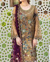 Camel Brown Organza Suit- Pakistani Designer Chiffon Suit