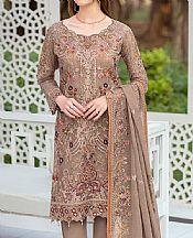 Taupe Brown Organza Suit- Pakistani Chiffon Dress