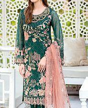 Teal Organza Suit- Pakistani Chiffon Dress
