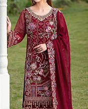 Maroon Organza Suit- Pakistani Chiffon Dress